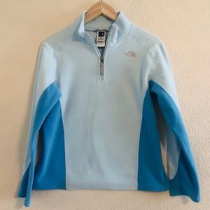 The North Face Light Blue Girls 1/4 Zip Pullover